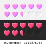 hearts rating icons set 3d...