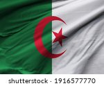 Render 3D of the flag of Algeria.  Image, RGB, jpg. Perfect for printing on T-shirts, posters, wall murals, wall murals, cups, glasses, sun loungers, banners, roll-ups, exhibition walls an