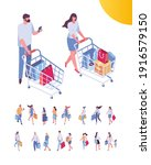 isometric people on shopping.... | Shutterstock .eps vector #1916579150