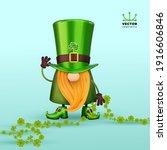 st. patrick's day irish gnome... | Shutterstock .eps vector #1916606846