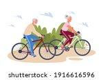 senior elderly couple enjoying... | Shutterstock .eps vector #1916616596