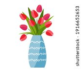 red tulips vase in flat style...   Shutterstock .eps vector #1916652653
