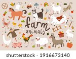 cute farm animals collection ... | Shutterstock .eps vector #1916673140