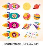 cute animals in spaceships kids ... | Shutterstock .eps vector #191667434