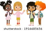 group of school friends talk to ... | Shutterstock .eps vector #1916685656