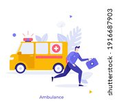 ambulance and paramedic  doctor ... | Shutterstock .eps vector #1916687903