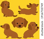 set of flat colored adorable...   Shutterstock .eps vector #1916733749