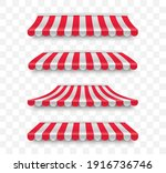 set of striped awnings... | Shutterstock .eps vector #1916736746