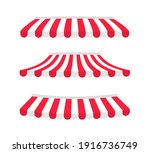 set of striped awnings... | Shutterstock .eps vector #1916736749
