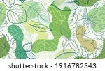 floral pattern with leaves.... | Shutterstock .eps vector #1916782343