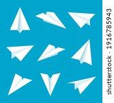 realistic handmade paper planes ... | Shutterstock .eps vector #1916785943