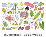 set of summer doodle vector... | Shutterstock .eps vector #1916795393