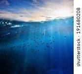 design template with underwater ... | Shutterstock . vector #191680208