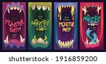 posters for monster party with... | Shutterstock .eps vector #1916859200