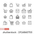 set of shopping cart line icons.... | Shutterstock .eps vector #1916860703