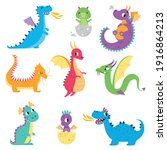 cute colorful little dragons... | Shutterstock .eps vector #1916864213