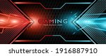 futuristic red and blue... | Shutterstock .eps vector #1916887910