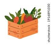 wooden basket with vegetables... | Shutterstock .eps vector #1916891030