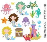 funny mermaids vector... | Shutterstock .eps vector #191691320