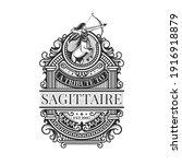 vintage sagittarius vector line ... | Shutterstock .eps vector #1916918879