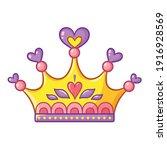 princess crown in cartoon style.... | Shutterstock .eps vector #1916928569