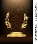 golden podium with laurel...   Shutterstock .eps vector #1916940290