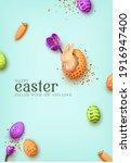 happy easter day. festive... | Shutterstock .eps vector #1916947400