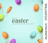 happy easter. multicolored... | Shutterstock .eps vector #1916947406