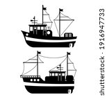 Silhouette Of The Fishing Boat  ...