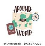 around the world inscription... | Shutterstock .eps vector #1916977229