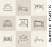 vector flat bed icon set simple ... | Shutterstock .eps vector #191698460