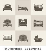 vector flat bed icon set simple ...