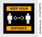 social distancing floor sign.... | Shutterstock .eps vector #1916998970