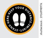 social distancing floor sign.... | Shutterstock .eps vector #1916998976