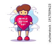 cute man and love world autism... | Shutterstock .eps vector #1917009623