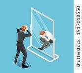 flat 3d isometric businessman... | Shutterstock .eps vector #1917013550
