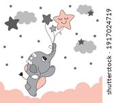 cute elephant baby to fly with... | Shutterstock .eps vector #1917024719