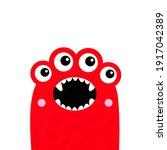 monster screaming face head...   Shutterstock .eps vector #1917042389