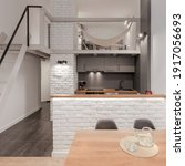 Small photo of Studio apartment with room with hammock on mezzanine above stylish kitchen open to wooden dining table