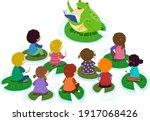 illustration of stickman kids... | Shutterstock .eps vector #1917068426