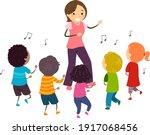 illustration of stickman kids... | Shutterstock .eps vector #1917068456