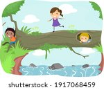 illustration of stickman kids... | Shutterstock .eps vector #1917068459