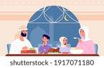 family ramadan dinner. arab eat ... | Shutterstock .eps vector #1917071180