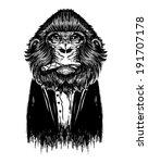 black monkey vector. animal... | Shutterstock .eps vector #191707178