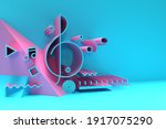 3d render abstract music note... | Shutterstock . vector #1917075290