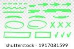green highlighter set   lines ... | Shutterstock .eps vector #1917081599