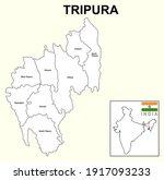 tripura map. highlight tripura... | Shutterstock .eps vector #1917093233