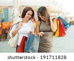 two beautiful women having fun...   Shutterstock . vector #191711828