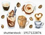 watercolor set of coffee cups ...   Shutterstock . vector #1917122876