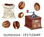 watercolor coffee set of bag...   Shutterstock . vector #1917126689